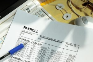 a payroll sheet listing employee wages